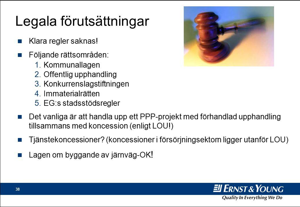 38 Legala förutsättningar n Klara regler saknas.