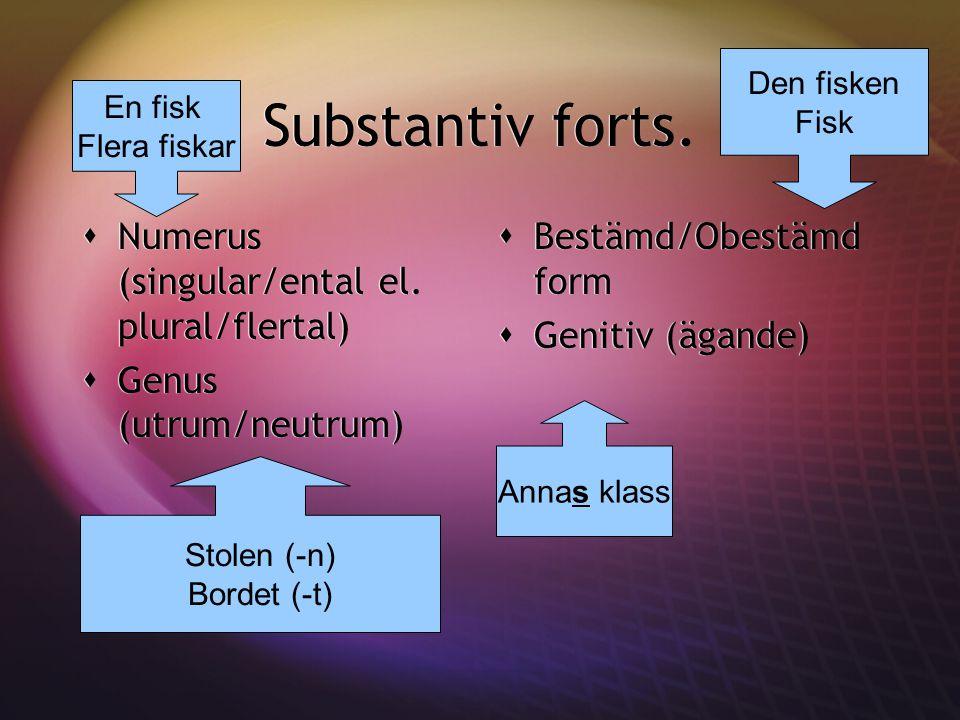 Substantiv forts.  Numerus (singular/ental el. plural/flertal)  Genus (utrum/neutrum)  Numerus (singular/ental el. plural/flertal)  Genus (utrum/n
