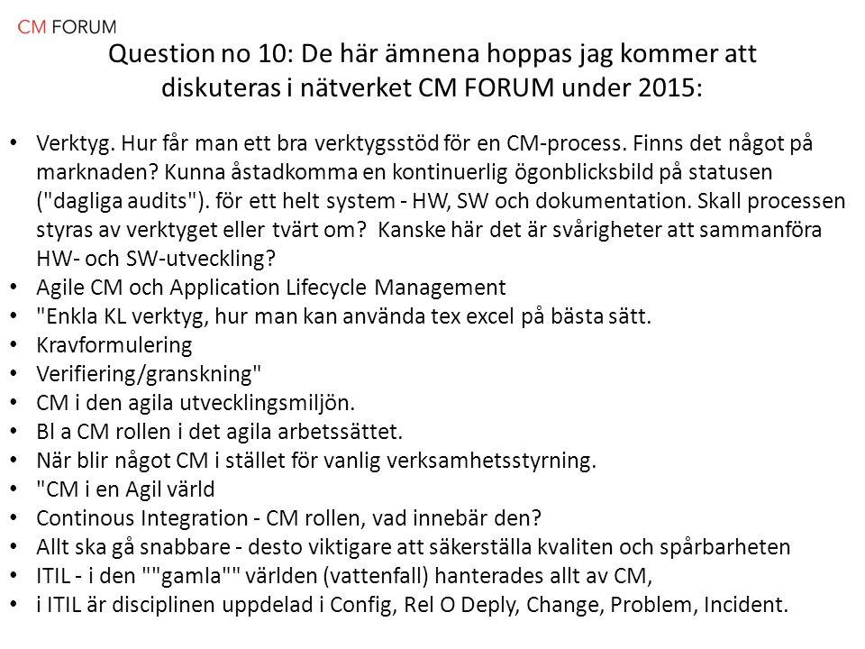 Question no 10: De här ämnena hoppas jag kommer att diskuteras i nätverket CM FORUM under 2015: Verktyg.