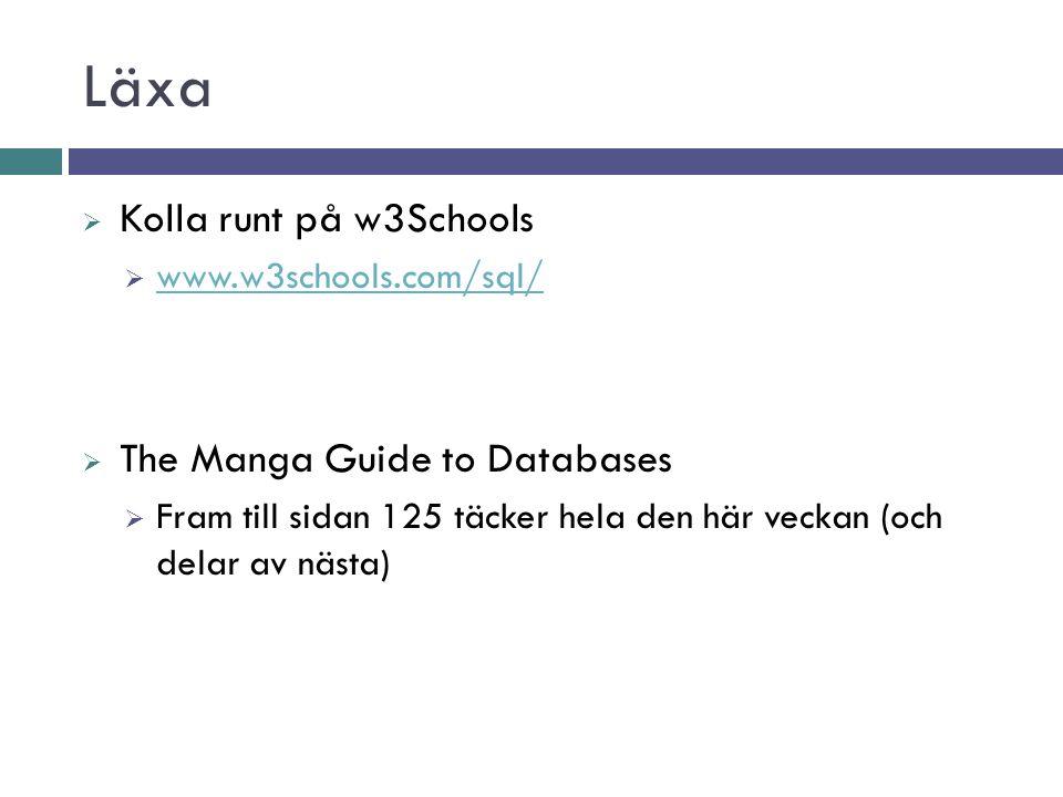 Läxa  Kolla runt på w3Schools  www.w3schools.com/sql/ www.w3schools.com/sql/  The Manga Guide to Databases  Fram till sidan 125 täcker hela den här veckan (och delar av nästa)