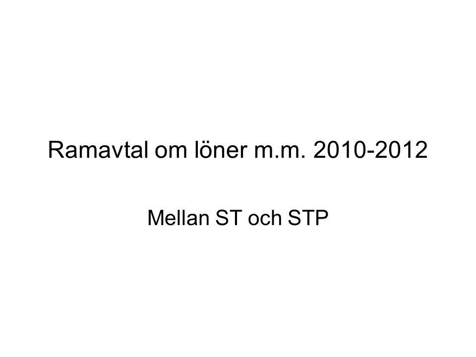 Ramavtal om löner m.m. 2010-2012 Mellan ST och STP
