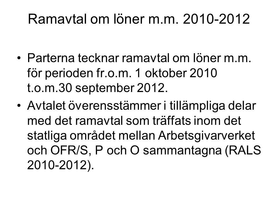Ramavtal om löner m.m. 2010-2012 Parterna tecknar ramavtal om löner m.m.