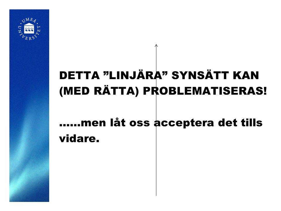 """DETTA """"LINJÄRA"""" SYNSÄTT KAN (MED RÄTTA) PROBLEMATISERAS! ……men låt oss acceptera det tills vidare."""