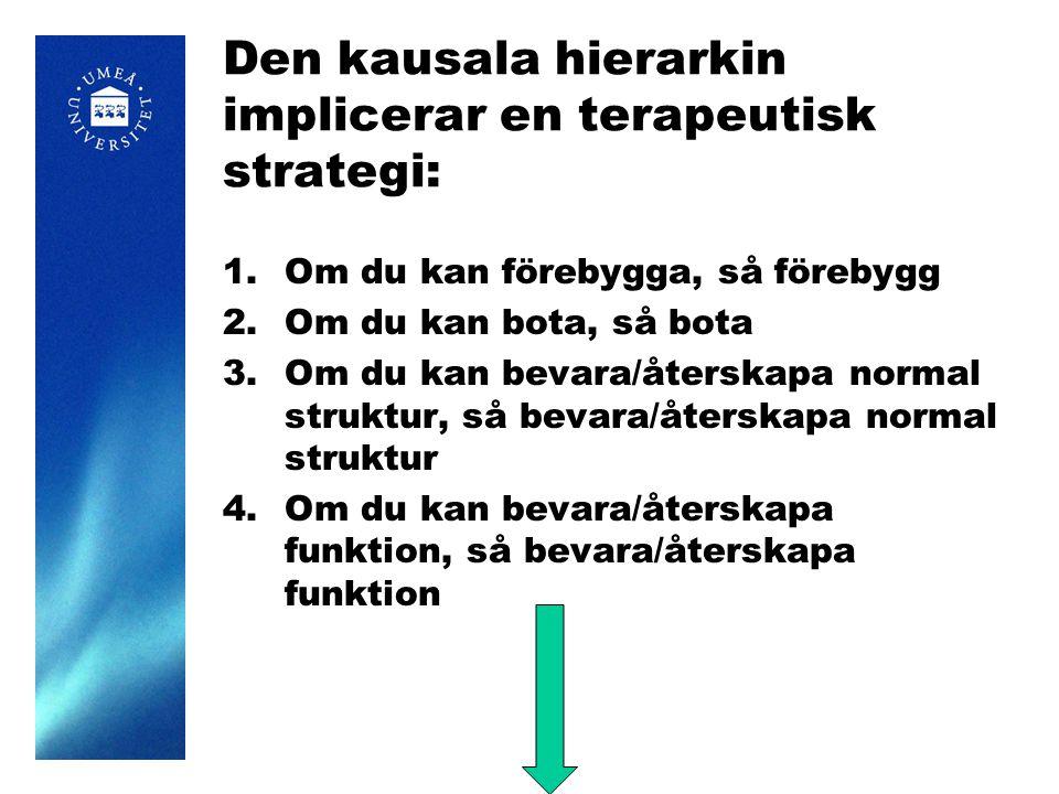 Den kausala hierarkin implicerar en terapeutisk strategi: 1.Om du kan förebygga, så förebygg 2.Om du kan bota, så bota 3.Om du kan bevara/återskapa normal struktur, så bevara/återskapa normal struktur 4.Om du kan bevara/återskapa funktion, så bevara/återskapa funktion