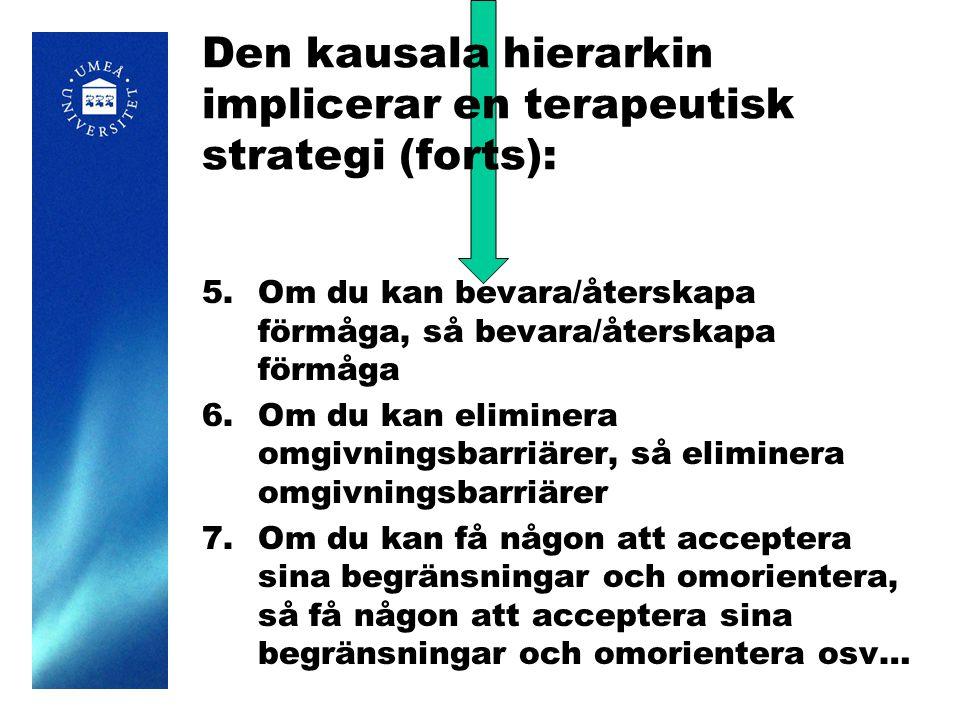 Den kausala hierarkin implicerar en terapeutisk strategi (forts): 5.Om du kan bevara/återskapa förmåga, så bevara/återskapa förmåga 6.Om du kan eliminera omgivningsbarriärer, så eliminera omgivningsbarriärer 7.Om du kan få någon att acceptera sina begränsningar och omorientera, så få någon att acceptera sina begränsningar och omorientera osv…
