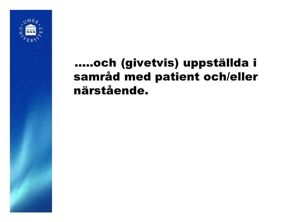 …..och (givetvis) uppställda i samråd med patient och/eller närstående.