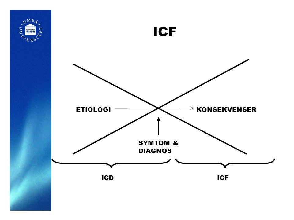 OBS: i praktiken arbetar rehabiliteringen genom att intervenera på alla relevanta hierarkiska nivåer parallellt.