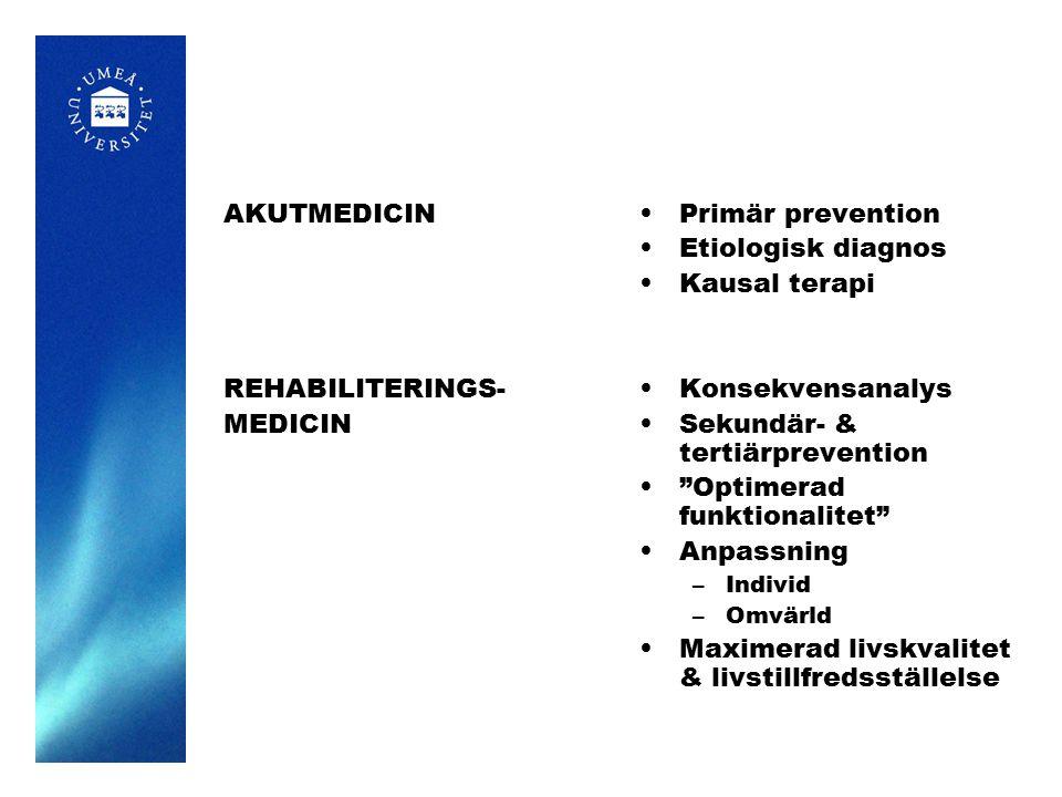 AKUTMEDICIN REHABILITERINGS- MEDICIN Primär prevention Etiologisk diagnos Kausal terapi Konsekvensanalys Sekundär- & tertiärprevention Optimerad funktionalitet Anpassning –Individ –Omvärld Maximerad livskvalitet & livstillfredsställelse
