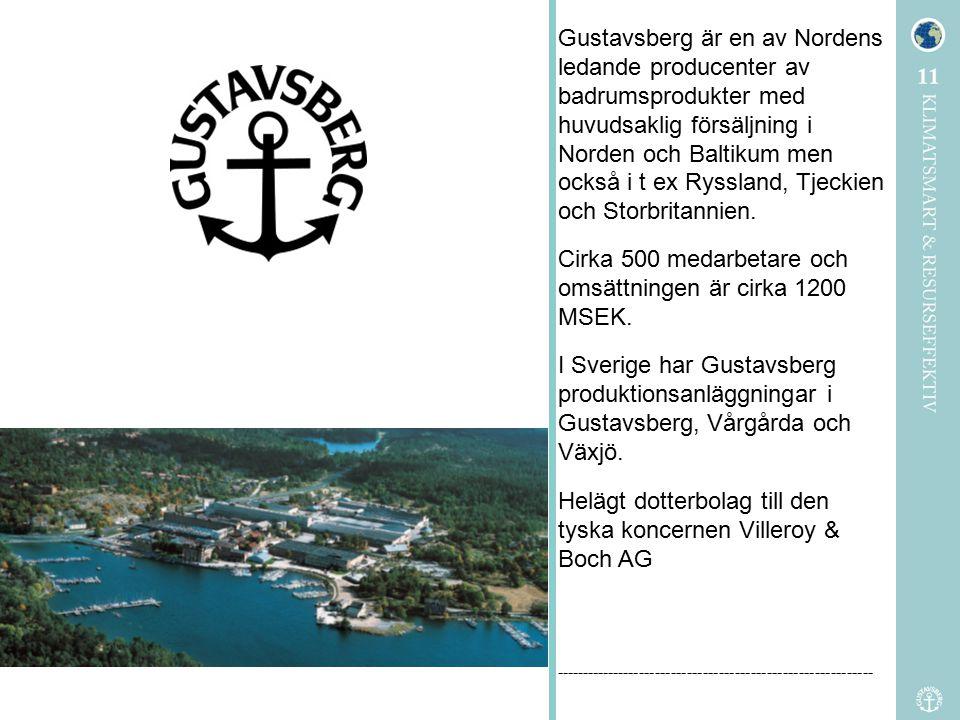 Gustavsberg är en av Nordens ledande producenter av badrumsprodukter med huvudsaklig försäljning i Norden och Baltikum men också i t ex Ryssland, Tjec