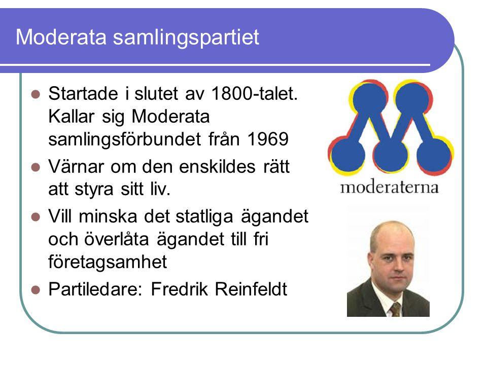 Moderata samlingspartiet Startade i slutet av 1800-talet. Kallar sig Moderata samlingsförbundet från 1969 Värnar om den enskildes rätt att styra sitt