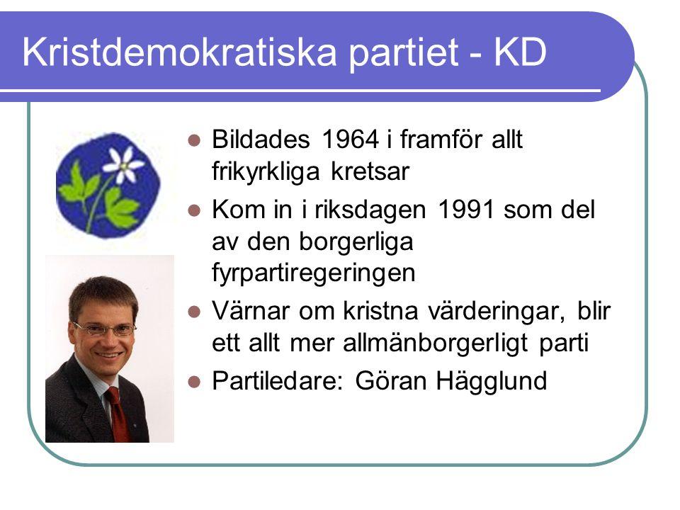 Kristdemokratiska partiet - KD Bildades 1964 i framför allt frikyrkliga kretsar Kom in i riksdagen 1991 som del av den borgerliga fyrpartiregeringen V
