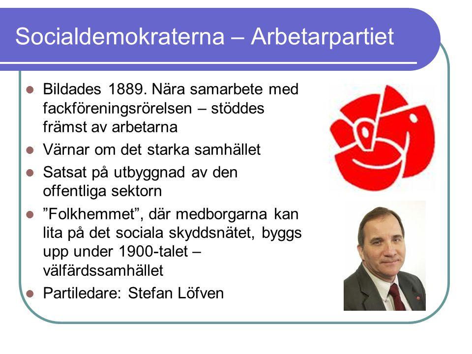 Socialdemokraterna – Arbetarpartiet Bildades 1889. Nära samarbete med fackföreningsrörelsen – stöddes främst av arbetarna Värnar om det starka samhäll