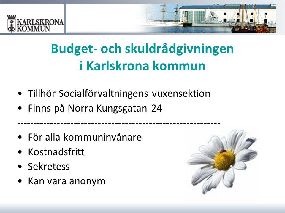 Budget- och skuldrådgivningen i Karlskrona kommun Tillhör Socialförvaltningens vuxensektion Finns på Norra Kungsgatan 24 -----------------------------