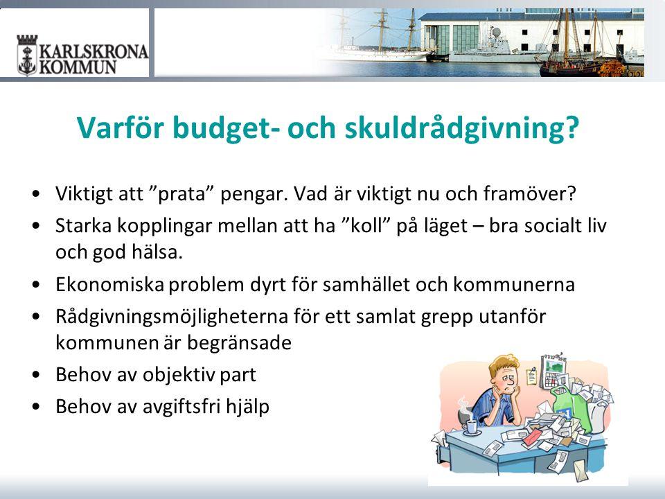 """Varför budget- och skuldrådgivning? Viktigt att """"prata"""" pengar. Vad är viktigt nu och framöver? Starka kopplingar mellan att ha """"koll"""" på läget – bra"""
