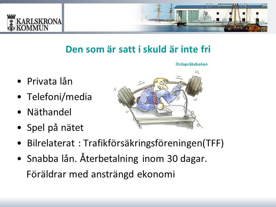 Den som är satt i skuld är inte fri Ordspråksboken Privata lån Telefoni/media Näthandel Spel på nätet Bilrelaterat : Trafikförsäkringsföreningen(TFF)