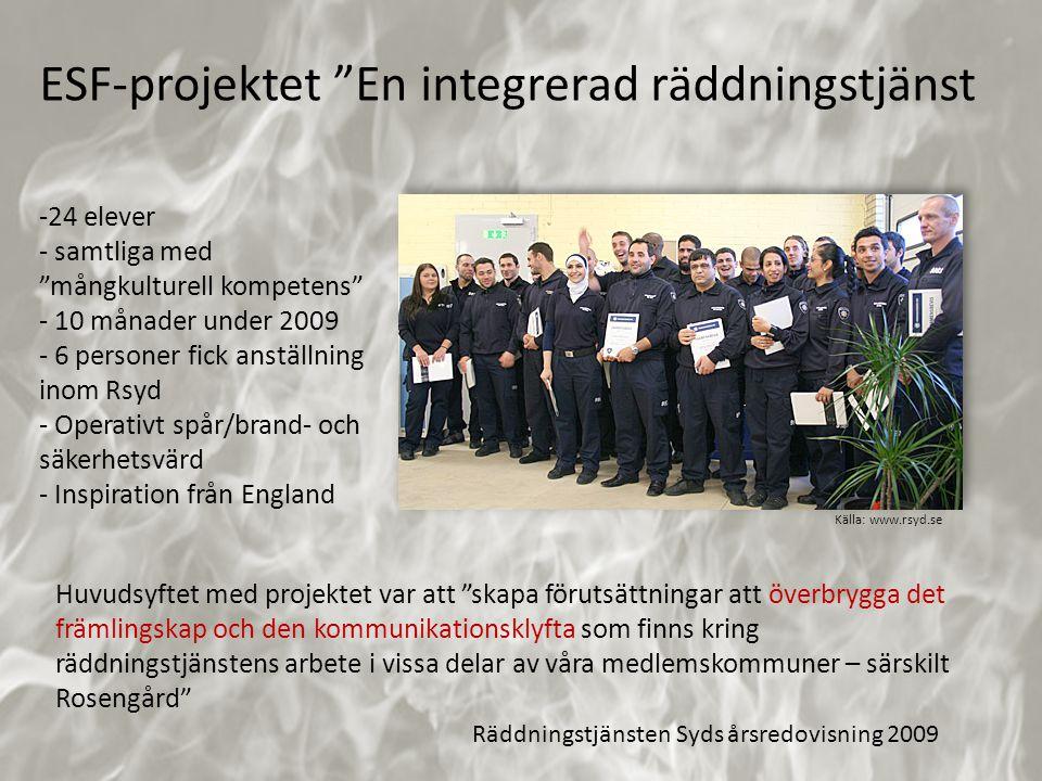 """-24 elever - samtliga med """"mångkulturell kompetens"""" - 10 månader under 2009 - 6 personer fick anställning inom Rsyd - Operativt spår/brand- och säkerh"""