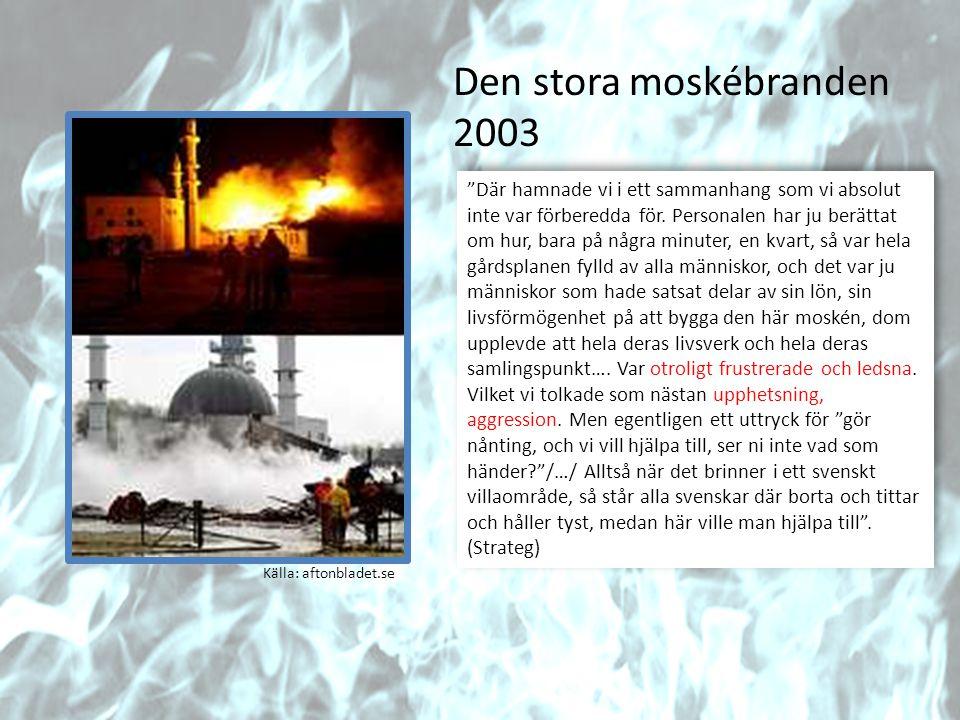 """Källa: aftonbladet.se Den stora moskébranden 2003 """"Där hamnade vi i ett sammanhang som vi absolut inte var förberedda för. Personalen har ju berättat"""