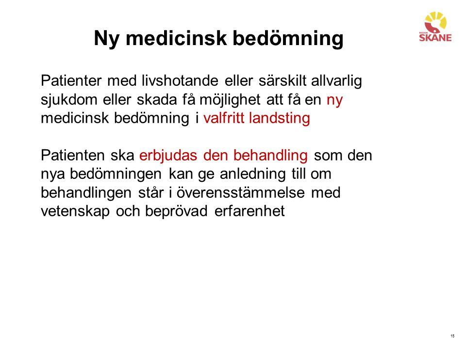 15 Ny medicinsk bedömning Patienter med livshotande eller särskilt allvarlig sjukdom eller skada få möjlighet att få en ny medicinsk bedömning i valfr