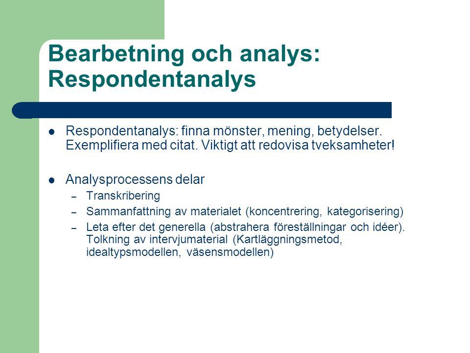 Bearbetning och analys: Respondentanalys Respondentanalys: finna mönster, mening, betydelser. Exemplifiera med citat. Viktigt att redovisa tveksamhete