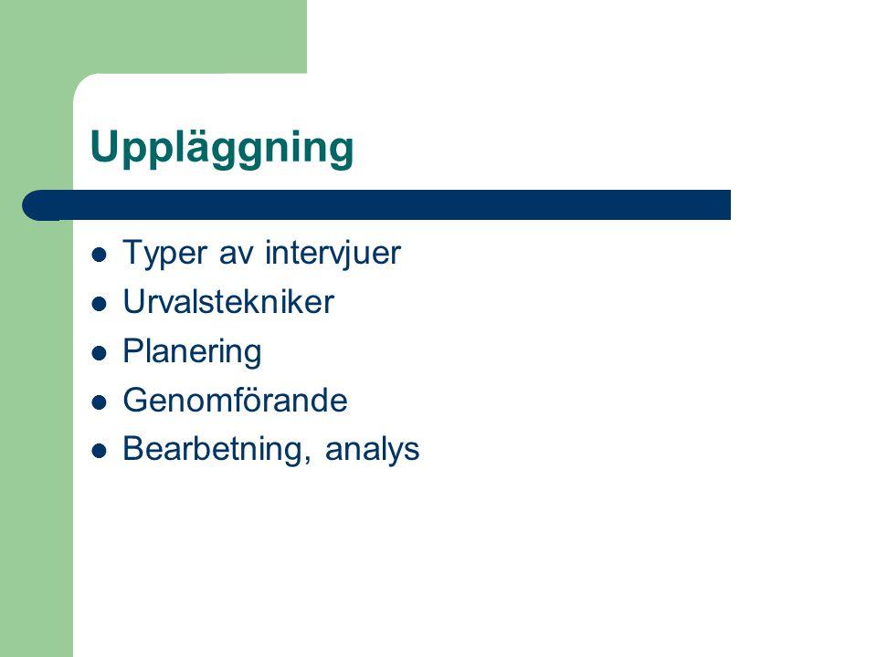 Uppläggning Typer av intervjuer Urvalstekniker Planering Genomförande Bearbetning, analys