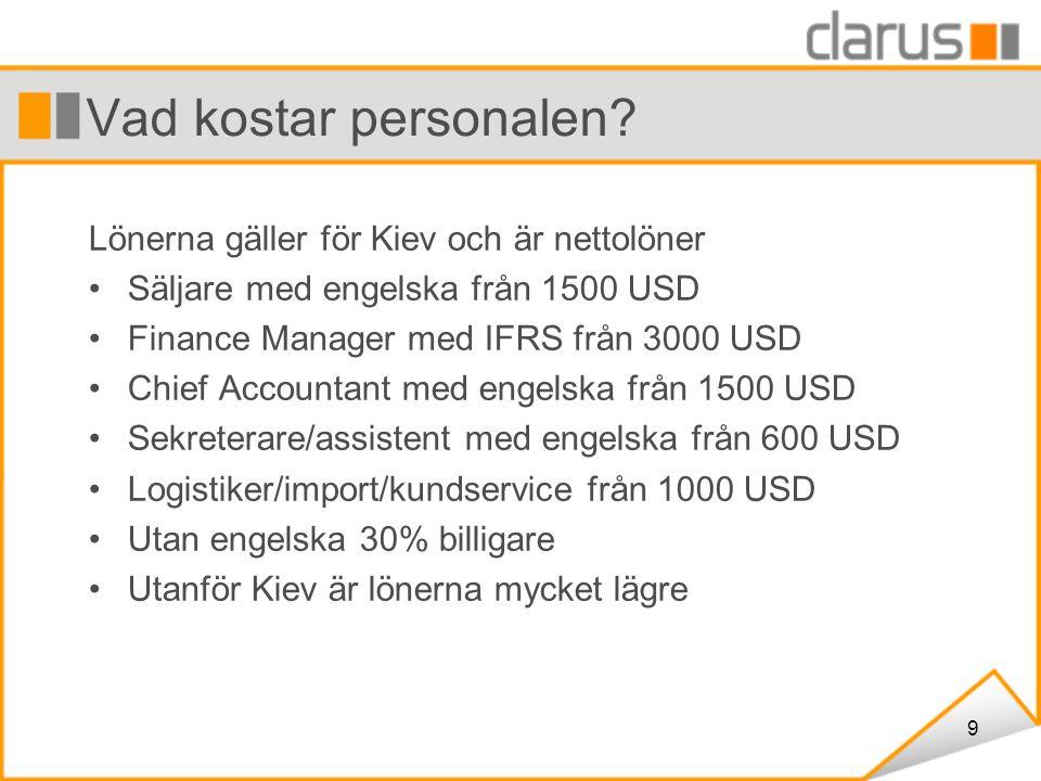 9 Vad kostar personalen? Lönerna gäller för Kiev och är nettolöner Säljare med engelska från 1500 USD Finance Manager med IFRS från 3000 USD Chief Acc