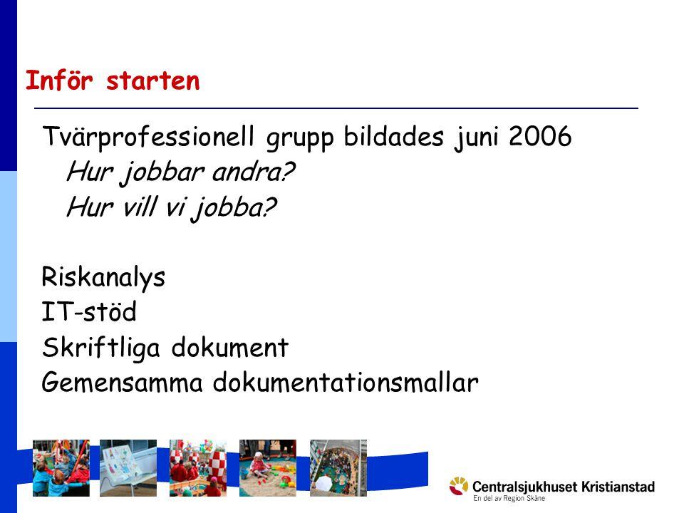 Inför starten Tvärprofessionell grupp bildades juni 2006 Hur jobbar andra.