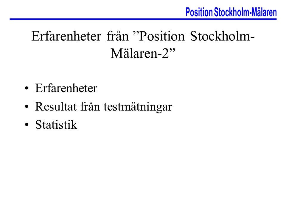 Erfarenheter från Position Stockholm- Mälaren-2 Erfarenheter Resultat från testmätningar Statistik