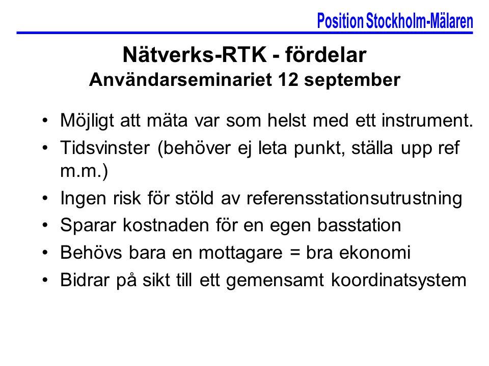 Nätverks-RTK - fördelar Användarseminariet 12 september Möjligt att mäta var som helst med ett instrument.