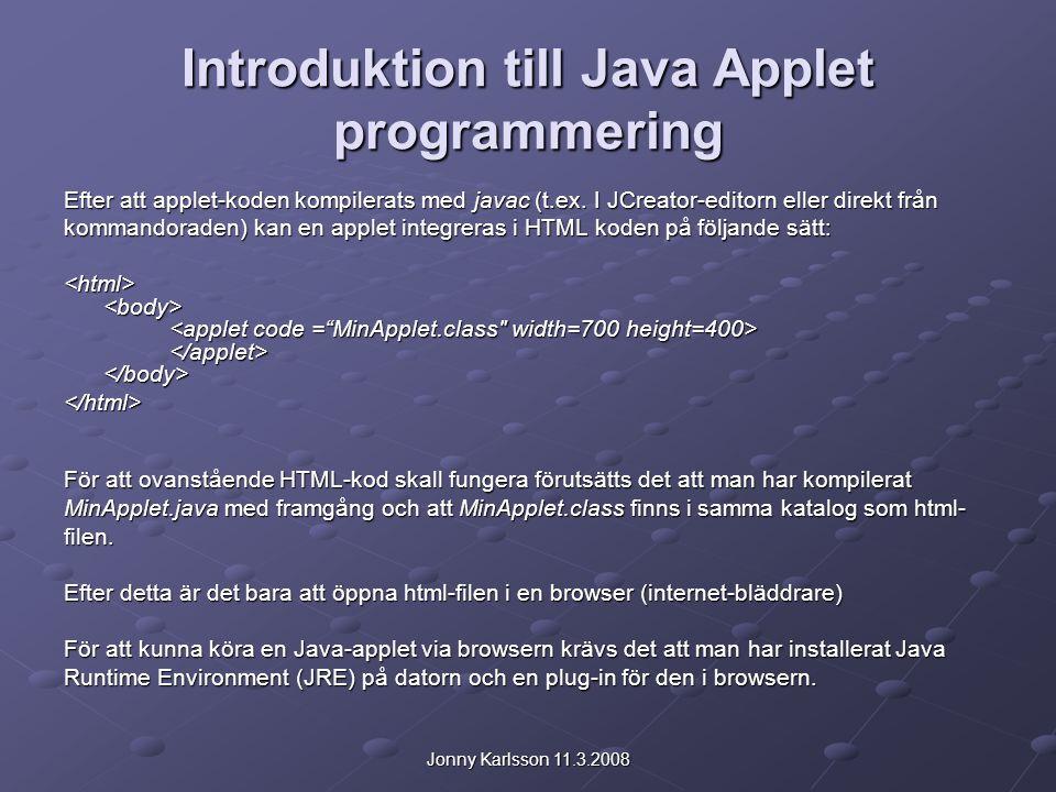 Jonny Karlsson 11.3.2008 Introduktion till Java Applet programmering Efter att applet-koden kompilerats med javac (t.ex. I JCreator-editorn eller dire