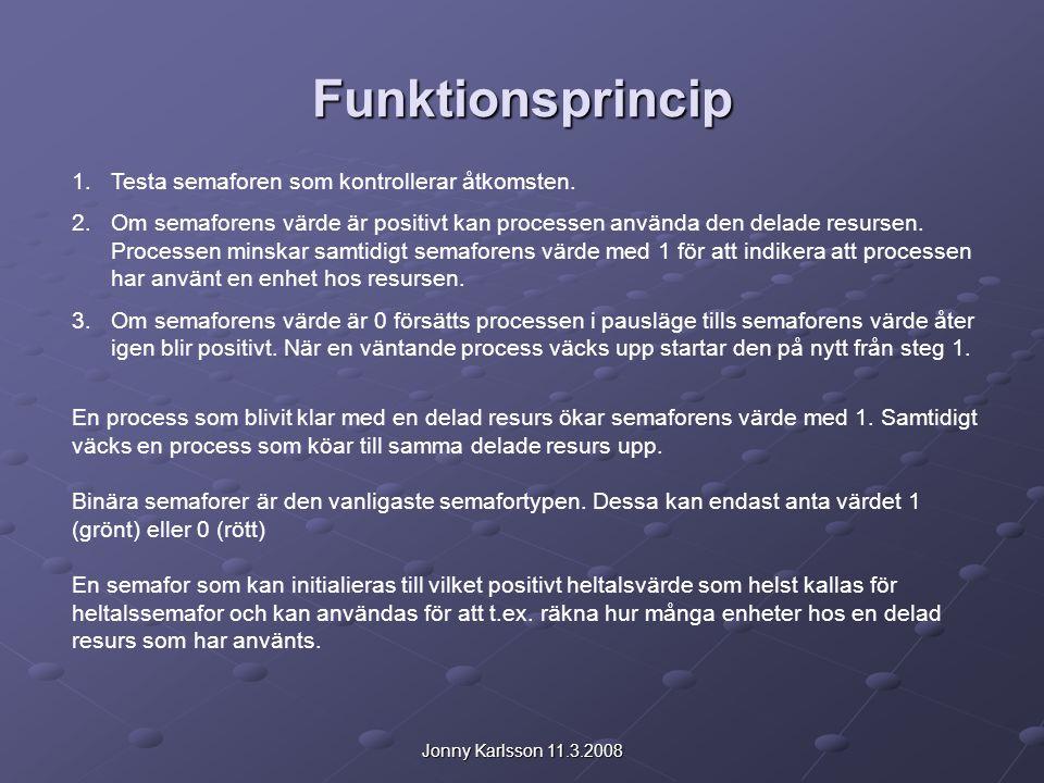 Jonny Karlsson 11.3.2008 Funktionsprincip 1.Testa semaforen som kontrollerar åtkomsten. 2.Om semaforens värde är positivt kan processen använda den de