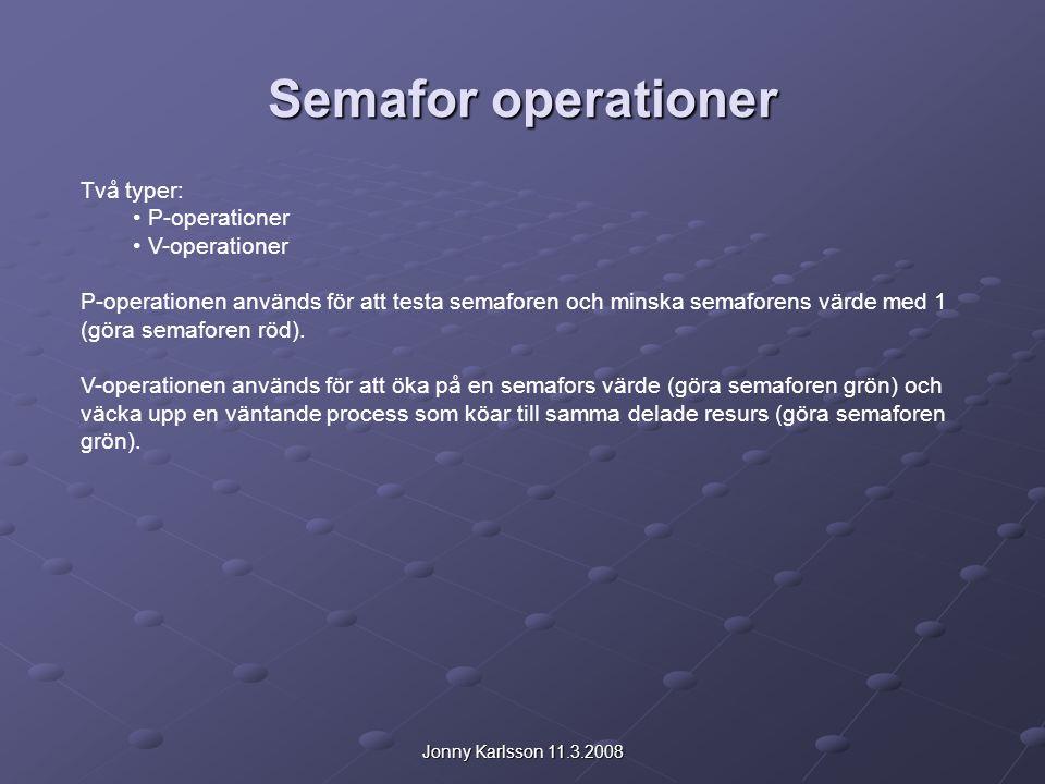 Jonny Karlsson 11.3.2008 Semafor operationer Två typer: P-operationer V-operationer P-operationen används för att testa semaforen och minska semaforens värde med 1 (göra semaforen röd).