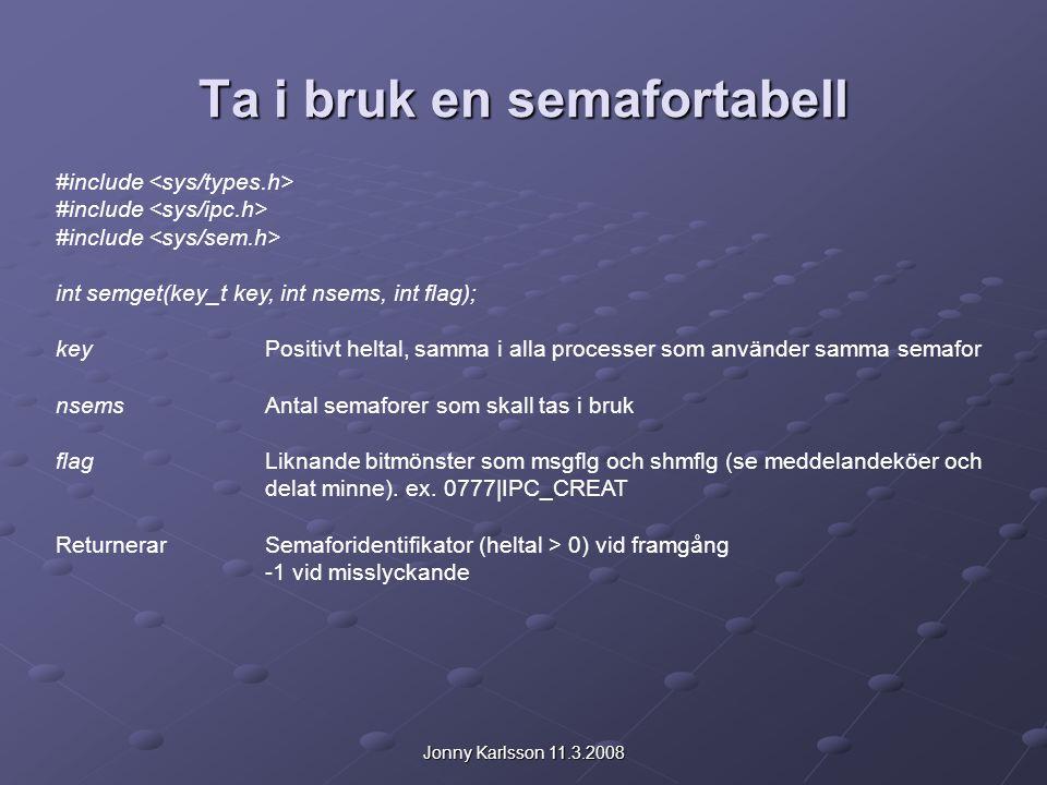 Jonny Karlsson 11.3.2008 Ta i bruk en semafortabell Process 1: #define SK 99 int SID; SID = semget(SK,1,0777|IPC_CREAT); Process 2: #define SK 99 int SID; SID = semget(SK,1,0777|IPC_CREAT); Ex.