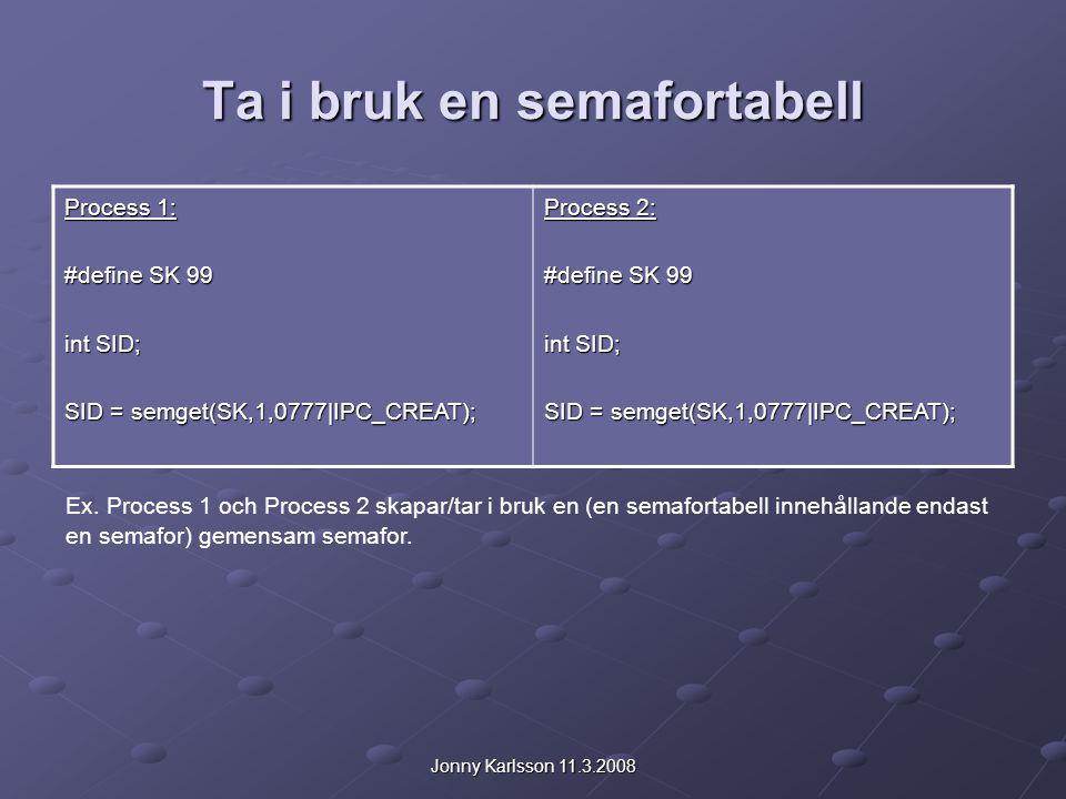 Jonny Karlsson 11.3.2008 Ta i bruk en semafortabell Process 1: #define SK 99 int SID; SID = semget(SK,1,0777|IPC_CREAT); Process 2: #define SK 99 int