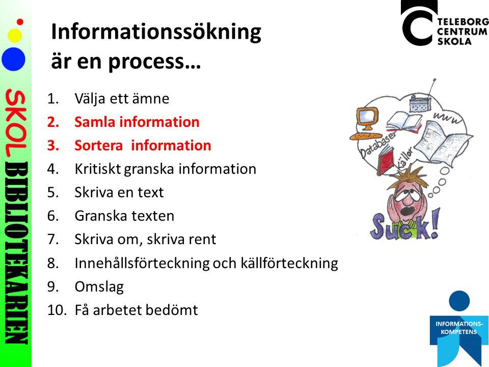 Informationssökning är en process… 1.Välja ett ämne 2.Samla information 3.Sortera information 4.Kritiskt granska information 5.Skriva en text 6.Granska texten 7.Skriva om, skriva rent 8.Innehållsförteckning och källförteckning 9.Omslag 10.Få arbetet bedömt