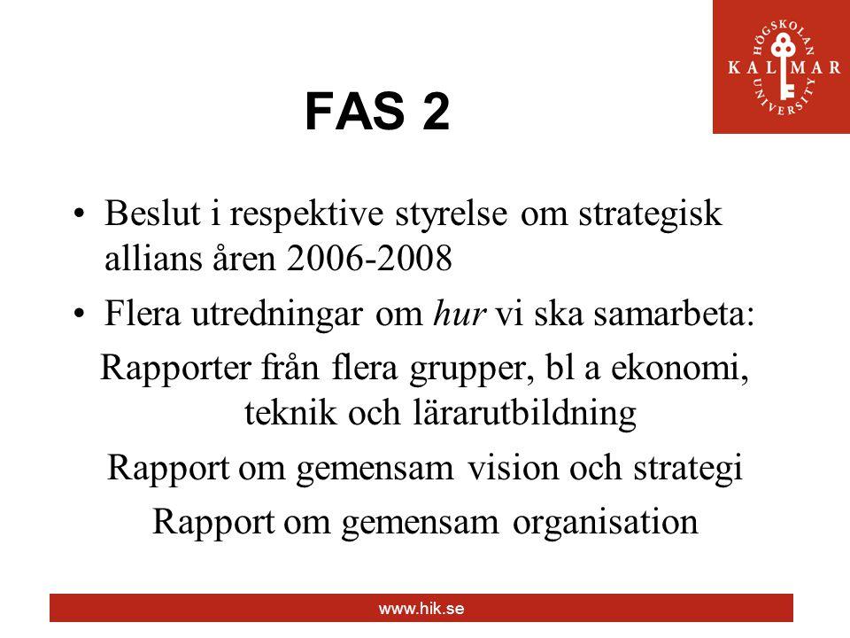 www.hik.se FAS 2 Beslut i respektive styrelse om strategisk allians åren 2006-2008 Flera utredningar om hur vi ska samarbeta: Rapporter från flera grupper, bl a ekonomi, teknik och lärarutbildning Rapport om gemensam vision och strategi Rapport om gemensam organisation