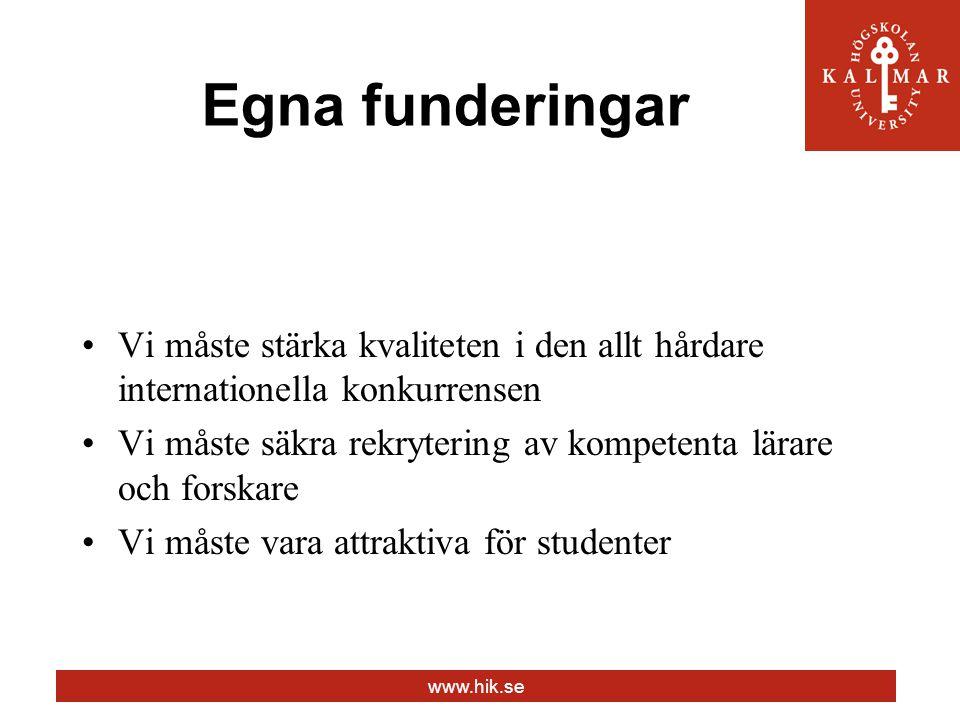 www.hik.se Egna funderingar Vi måste stärka kvaliteten i den allt hårdare internationella konkurrensen Vi måste säkra rekrytering av kompetenta lärare och forskare Vi måste vara attraktiva för studenter