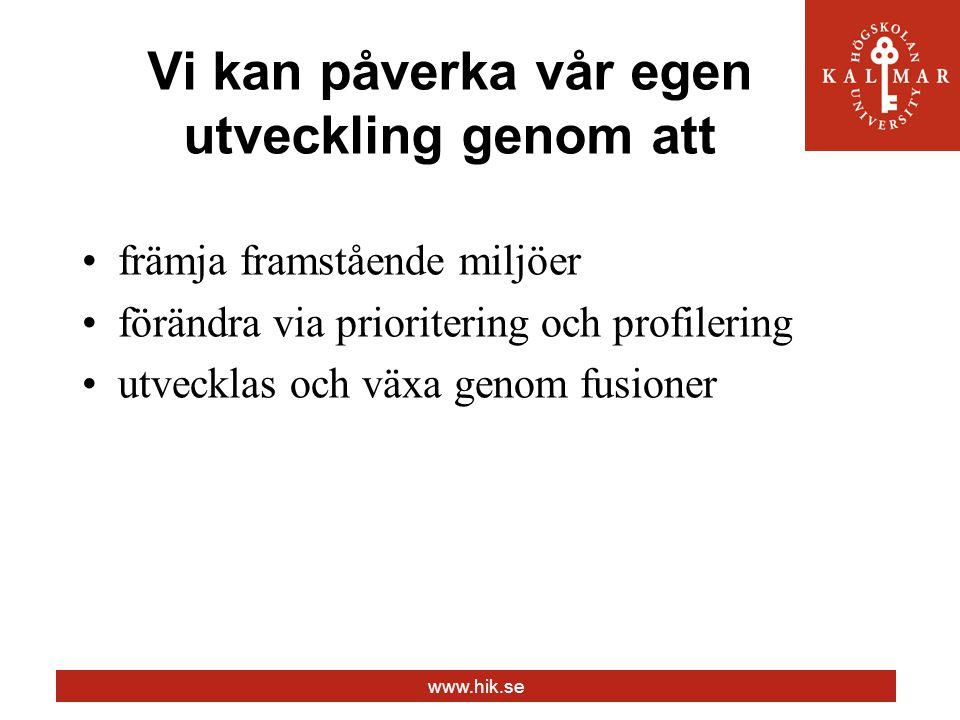 www.hik.se Vi kan påverka vår egen utveckling genom att främja framstående miljöer förändra via prioritering och profilering utvecklas och växa genom fusioner