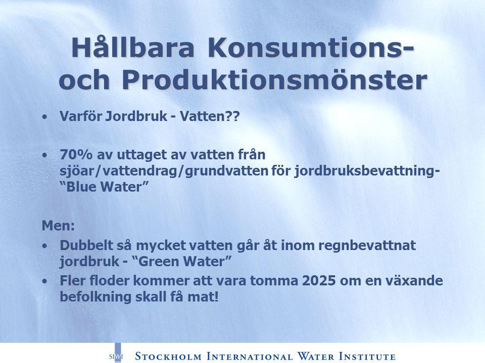 Hållbara Konsumtions- och Produktionsmönster Varför Jordbruk - Vatten .