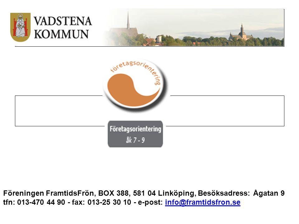 Föreningen FramtidsFrön, BOX 388, 581 04 Linköping, Besöksadress: Ågatan 9 tfn: 013-470 44 90 - fax: 013-25 30 10 - e-post: info@framtidsfron.se info@framtidsfron.se