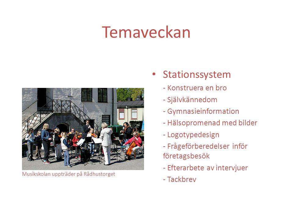 Temaveckan Stationssystem - Konstruera en bro - Självkännedom - Gymnasieinformation - Hälsopromenad med bilder - Logotypedesign - Frågeförberedelser inför företagsbesök - Efterarbete av intervjuer - Tackbrev Musikskolan uppträder på Rådhustorget