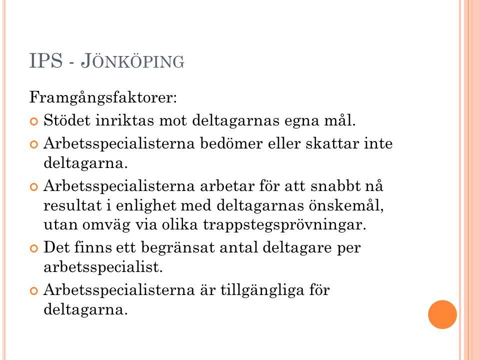 IPS - J ÖNKÖPING Framgångsfaktorer forts.: Metodtrohet Utbildning Handledning Samverkan