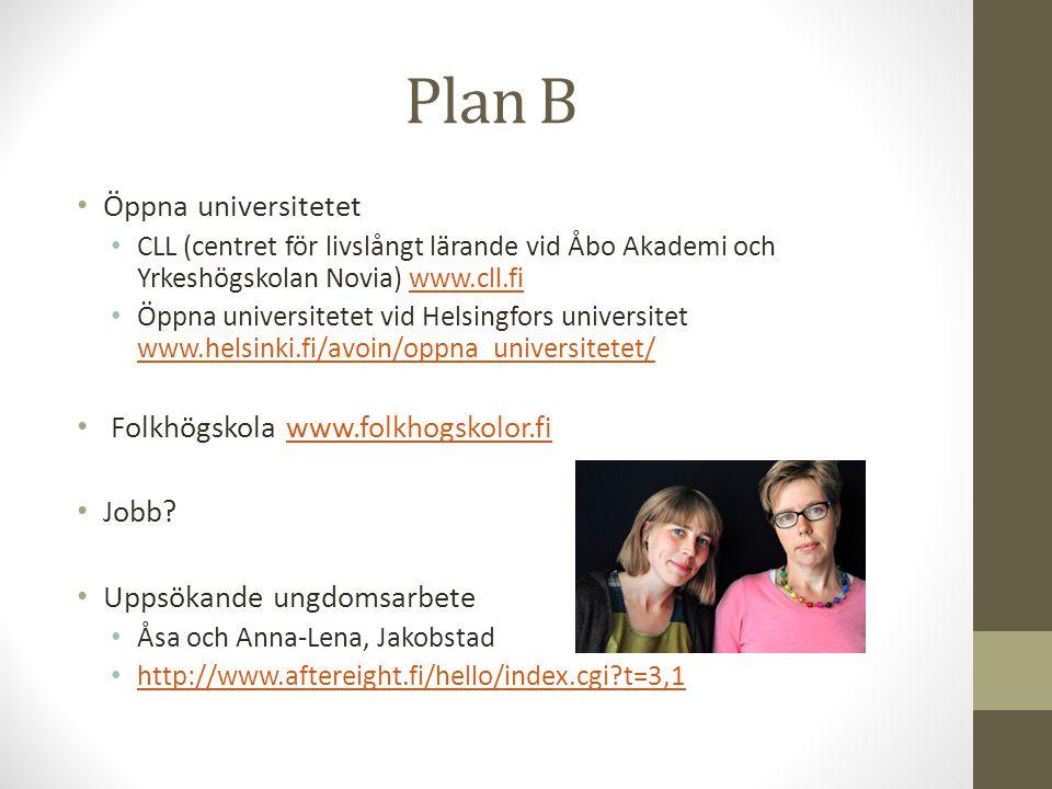 Plan B Öppna universitetet CLL (centret för livslångt lärande vid Åbo Akademi och Yrkeshögskolan Novia) www.cll.fiwww.cll.fi Öppna universitetet vid H
