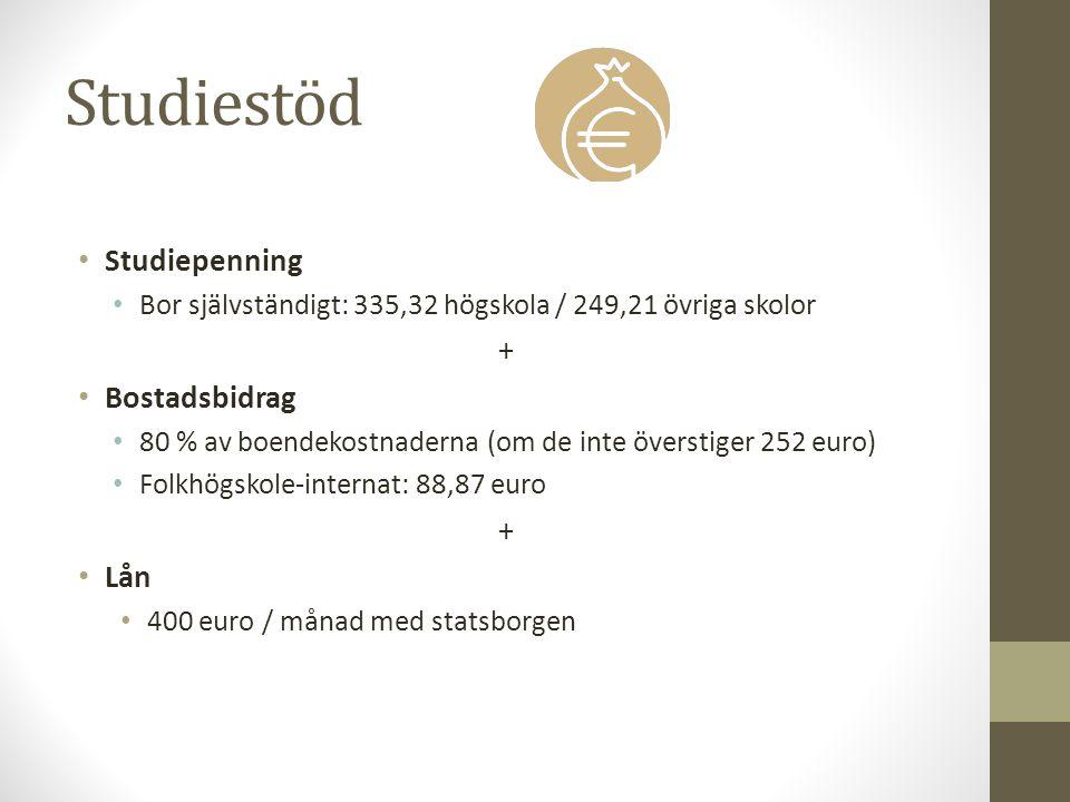 Studiestöd Studiepenning Bor självständigt: 335,32 högskola / 249,21 övriga skolor + Bostadsbidrag 80 % av boendekostnaderna (om de inte överstiger 252 euro) Folkhögskole-internat: 88,87 euro + Lån 400 euro / månad med statsborgen