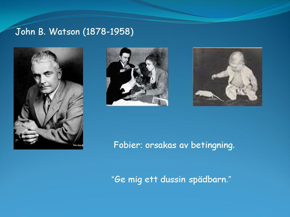 """John B. Watson (1878-1958) """" Ge mig ett dussin spädbarn."""" Fobier : orsakas av betingning."""