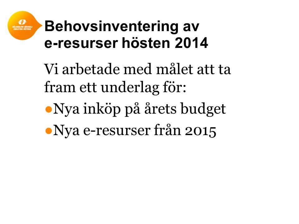 Behovsinventering av e-resurser hösten 2014 Vi arbetade med målet att ta fram ett underlag för: ●Nya inköp på årets budget ●Nya e-resurser från 2015