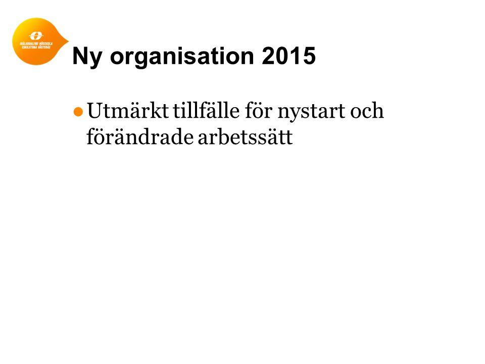 Ny organisation 2015 ●Utmärkt tillfälle för nystart och förändrade arbetssätt