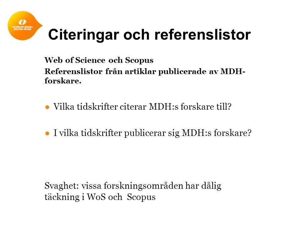 Citeringar och referenslistor Web of Science och Scopus Referenslistor från artiklar publicerade av MDH- forskare.