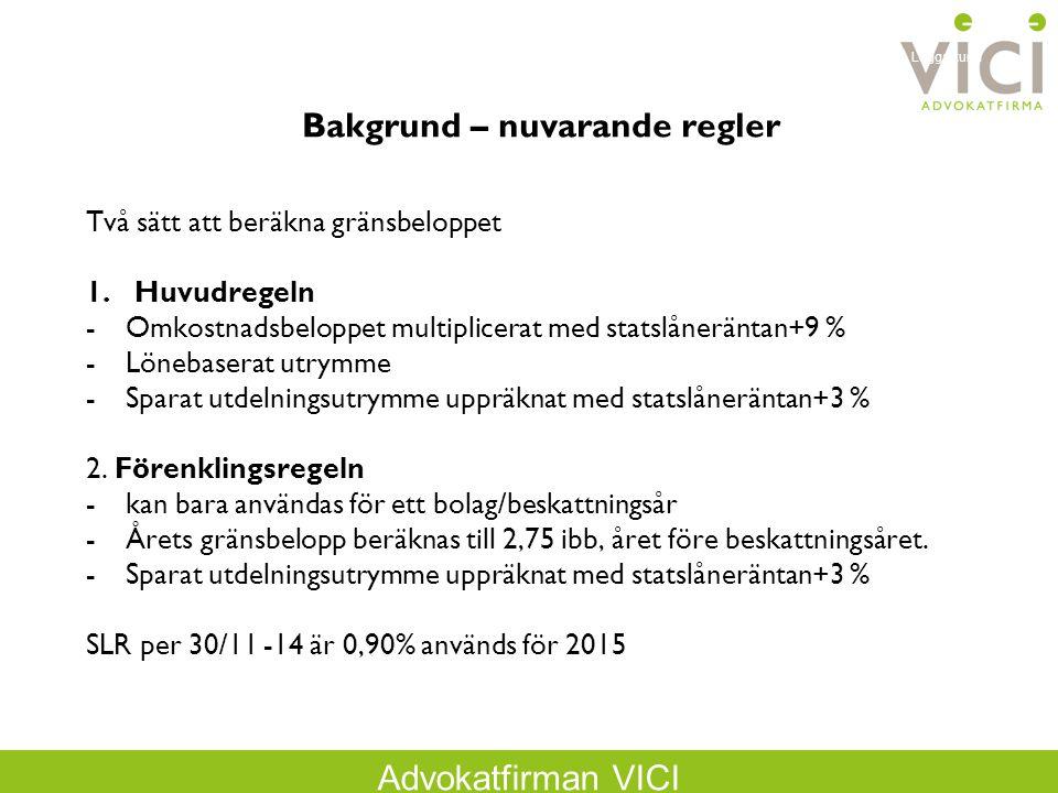 Advokatfirman VICI Två sätt att beräkna gränsbeloppet 1.Huvudregeln -Omkostnadsbeloppet multiplicerat med statslåneräntan+9 % -Lönebaserat utrymme -Sparat utdelningsutrymme uppräknat med statslåneräntan+3 % 2.