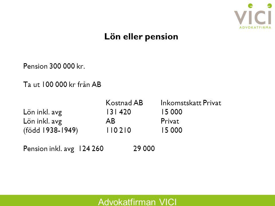 Advokatfirman VICI Lön eller pension Pension 300 000 kr. Ta ut 100 000 kr från AB Kostnad ABInkomstskatt Privat Lön inkl. avg131 42015 000 Lön inkl. a