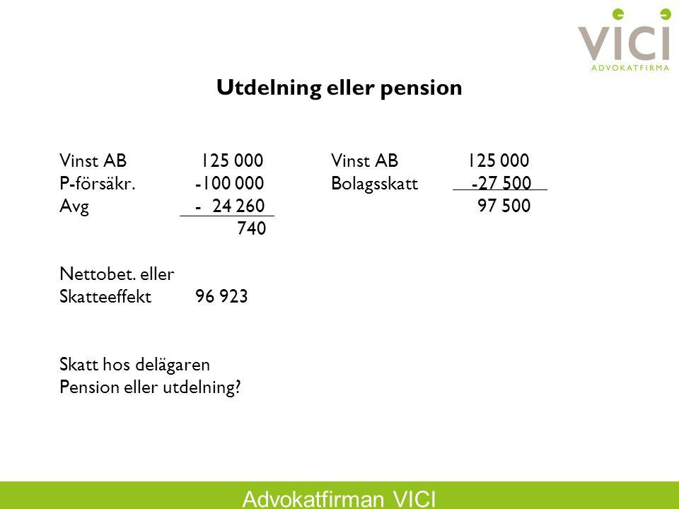 Advokatfirman VICI Omvänd löneväxling Höjer löneunderlaget och kan även höja det egna lönen för att klara lönekravet Exempel: A har kontant lön 25 000 kr/m och bilförmånsvärde med 5 000 kr/m A betalar inkomstskatt på 30 000 kr/m och företaget betalar arbetsgivaravgifter på 30 000 kr/m.
